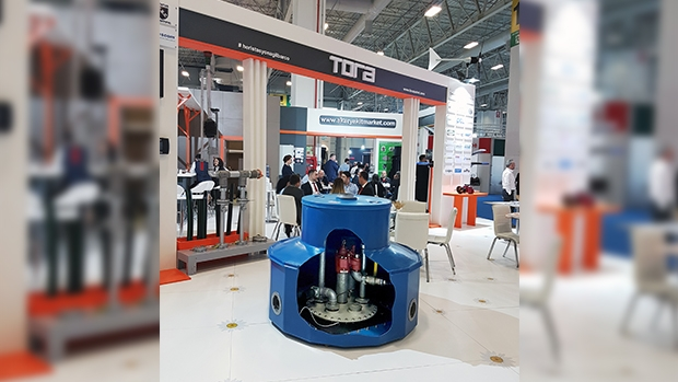 The new OPWlite GRP tank sump on show at Petroleum Istanbul at OPW distributor Tora's stand