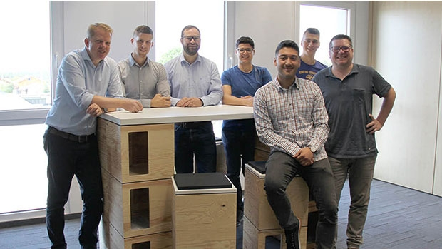 "The team of six employees led by division manager Sven Stottmeier (1st from left) of the new company division ""Digital Solutions"""
