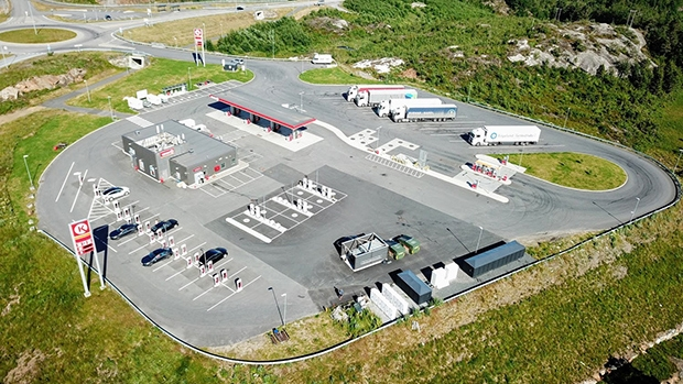 Circle K station in Norway with fuel dispensers and EV chargers