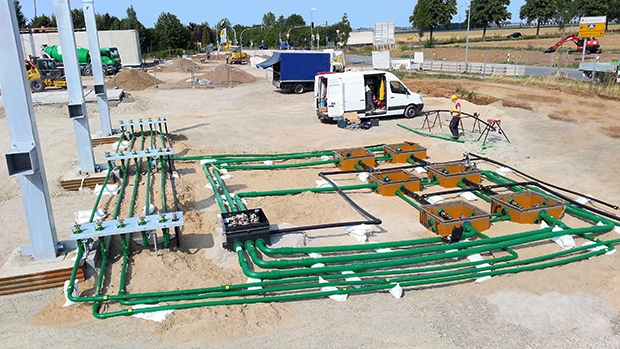BP-Aral specified KPS' plastic double wall piping at a new build site in Hildesheim, Germany
