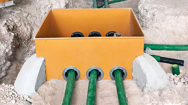 Vacuum testable Fibrelite GRP sumps provided a strong, hard-wearing, liquid-tight containment solution