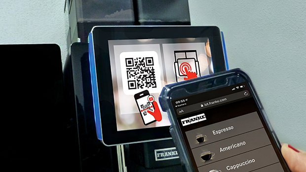 Thanks to Franke Touchless, customers can select and order beverages securely and conveniently on their own smartphones.