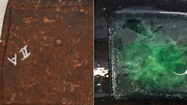 Surface damaged, before and after the hole repair application.