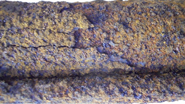 A severely corroded STP shaft that was removed from a diesel tank