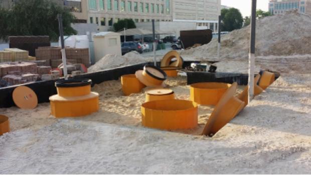 Fibrelite S14-390 tank sumps under installation