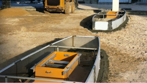 Fibrelite EL-G-E500 dispenser sumps ready for concreting