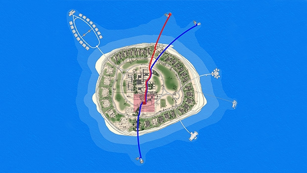 Island overview with fuel delivery jetty (red) fuel storage (box in centre) and refuelling jetty (blue)