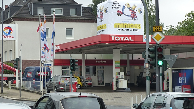 Filling station advertising also encompasses promotional campaigns and inflatables on filling station roofs.