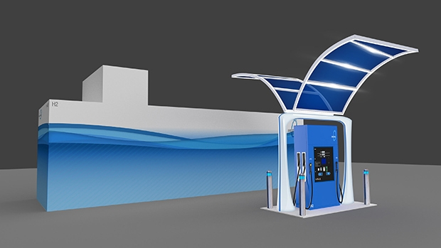 Rendering of First Element Fuel's liquid hydrogen retail fuel pump. The pump includes a canopy on top and the fuel storage is pictured in the rear.